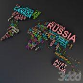آبجکت نقشه جهان با اسم کشور