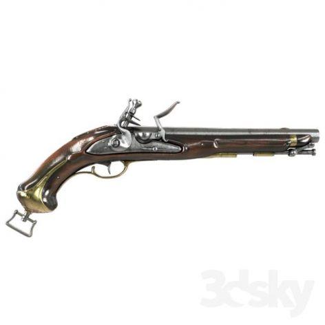 آبجکت تفنگ چخماقی در تردی مکس و وی ری (۳d max & V.ray)