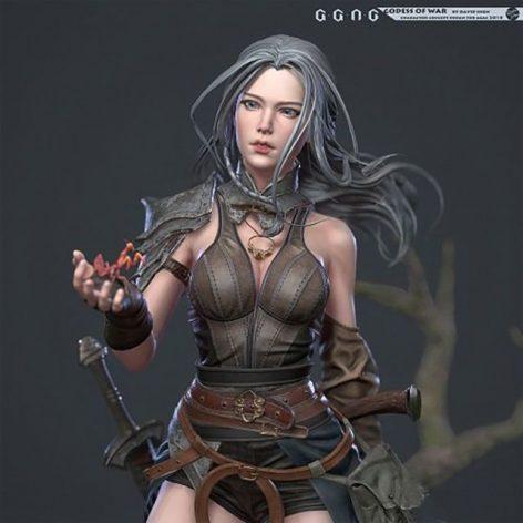 مدل سه بعدی زن جنگجو