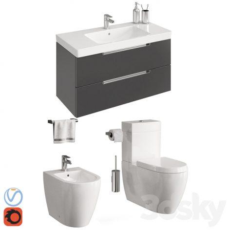 مدل سه بعدی ست توالت فرنگی