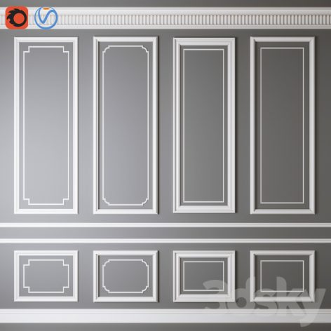 مدل سه بعدی گچبری دیوار 011