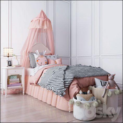 مدل سه بعدی ست اتاق دخترانه