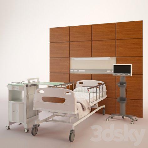 مدل سه بعدی اتاق بیمارستان