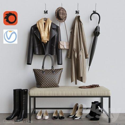 مدل سه بعدی ست کفش و کیف