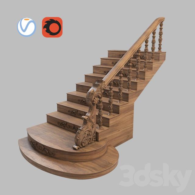 مدل سه بعدی پله چوبی