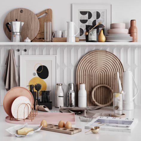 مدل سه بعدی ست لوازم آشپزخانه