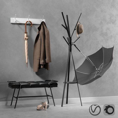 دانلود مدل سه بعدی چتر و لباس