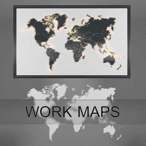 دانلود مدل سه بعدی دکوراتیو نقشه جهان