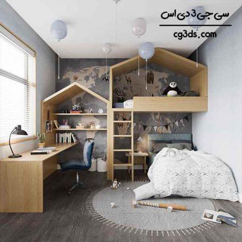 مدل سه بعدی اتاق خواب کودک سری ششم