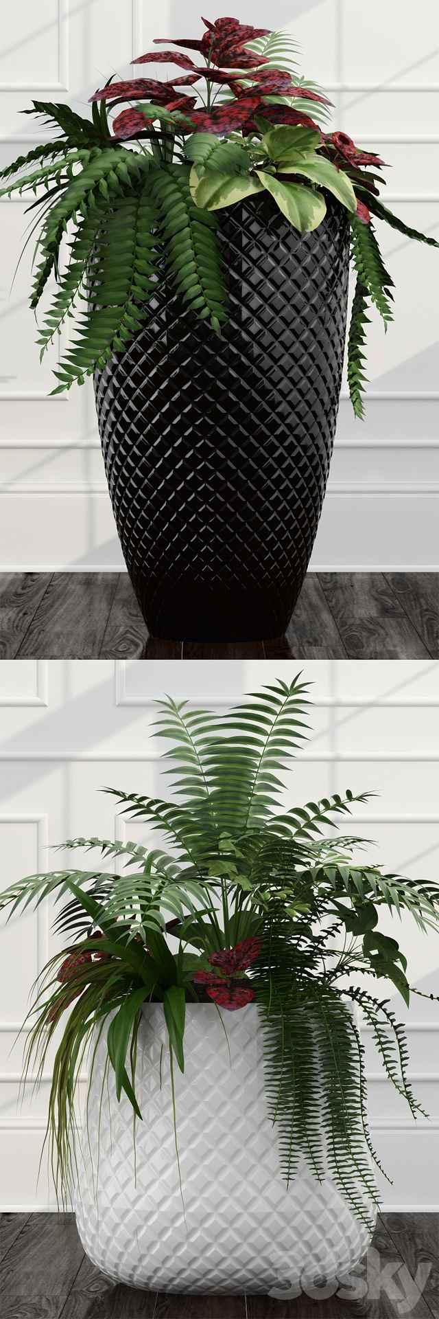 مدل سه بعدی گل و گلدان شیک
