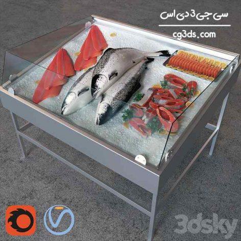 مدل سه بعدی ویترین ماهی سالمون