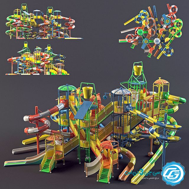 مدل 3 بعدی سرسره آبی پارک